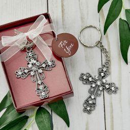 Baptism Christening FC-6533 Cross Design Keychain Favors