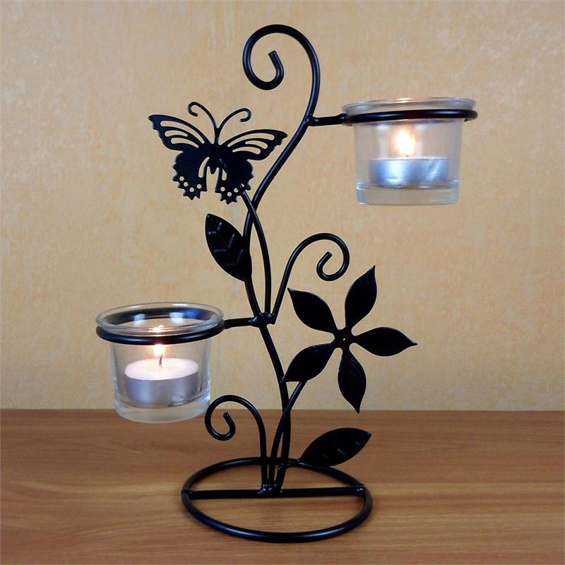 Rod Iron Tea Light Butterfly Candle Holder