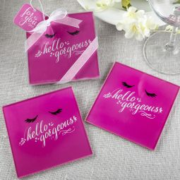 FC-7836 Wedding Favors Tropical Flamingo design set of two glass coasters