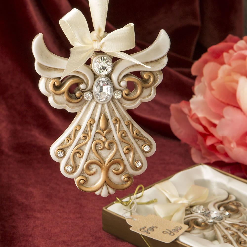 FC-8995 Antique ivory Angel Ornament with a matte gold filigree detailing