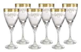 Italian Crystal Wine Gles With 18kt