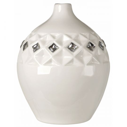 Italian White Bone China Vase W Swarovski Crystal Elements130232