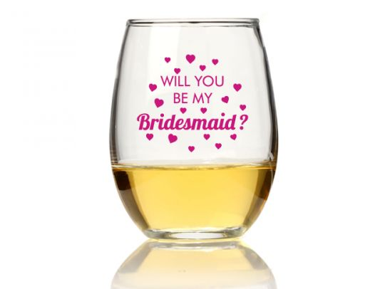 30a3b5f3506 Will You Be My Bridesmaid Heart 15 oz Stemless Wine Glass gift ...