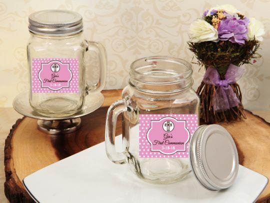 First Communion Girl Personalized Mason Jar Drinking Glass Favors