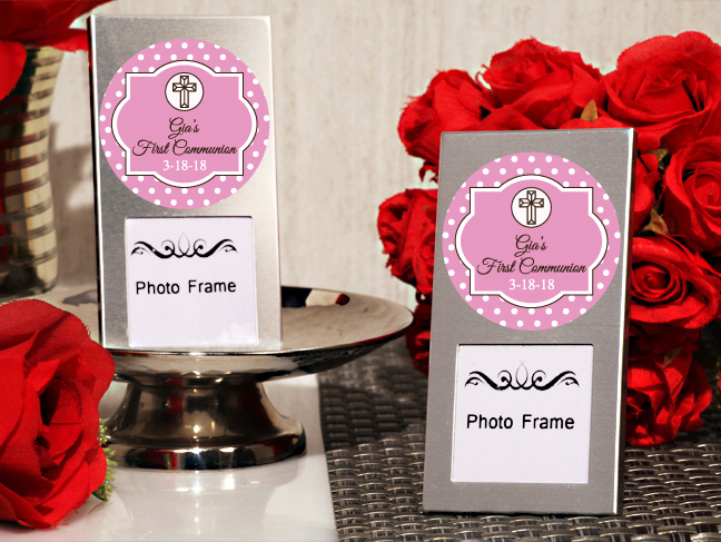 First Communion Girl Personalized Mini Photo Frame Favors