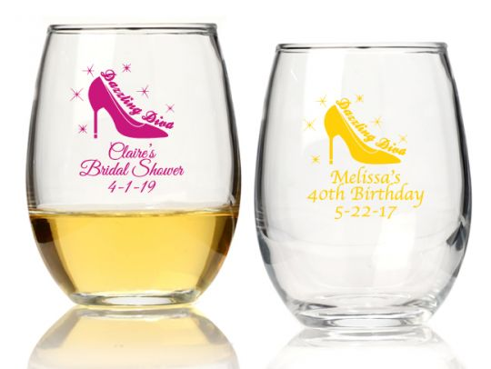 Http Www Lafavoritafavors Com The Dazzling Diva Personalized 9 Oz Stemless Wine Glass Html