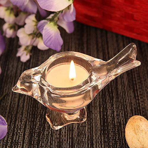 Love Bird Bird Shaped Crystallike Glass Candle Holder