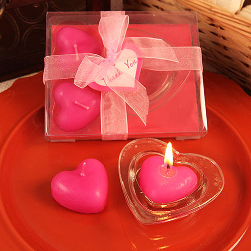 Quot Three Little Hearts Quot Heart Shaped Hot Pink Candles With